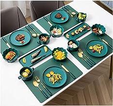 WDZJM مجموعة أدوات المائدة طبق العشاء، والأطباق المنزلية الفاخرة والخفيفة على الطراز الأوروبي، أطباق العشاء الغربية، أطباق...