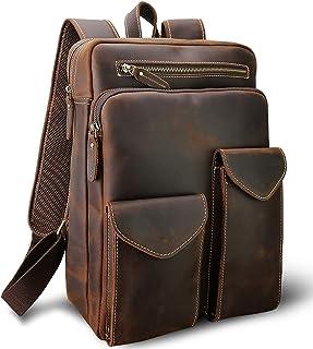 Small Mens Genuine Leather Backpack for Men Purse Vintage 14 Inch Laptop Bag Business Work Hiking Daypack Brown Schoolbag