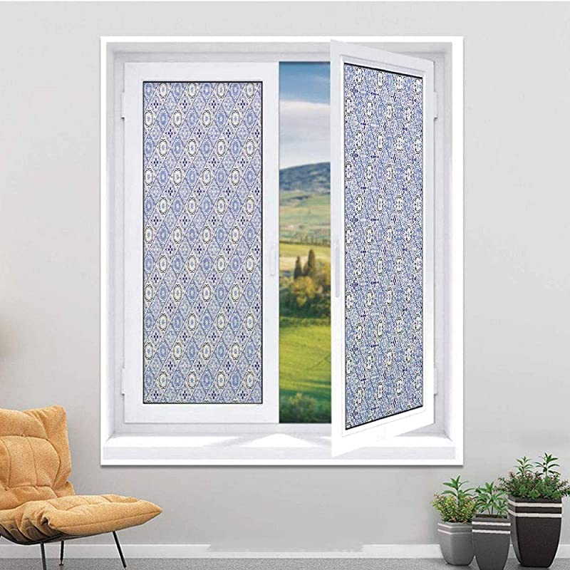 Decorative Window Privacy Film Frosted Window Film Stained Glass Window Film Window Clings Static Cling For Home Bedroom Bathroom 17 7 X 35 4 Inches Moroccan Diagonal Rhombus Pattern With Ori