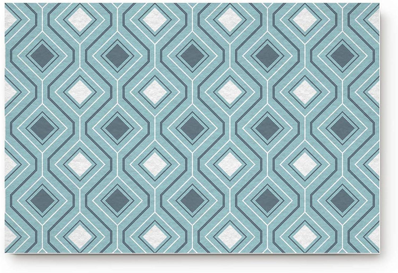 URDER Welcome Doormats Rubber Non-Slip Floor Mat Rugs for Entrance Way Indoor Front Door Bathroom Kitchen, shoes Scraper Carpet 31.5 x 20 Inch Modern Geometric Diamond Design