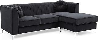Glory Furniture Delray Sofa Chaise, Black. Living Room Furniture, 32