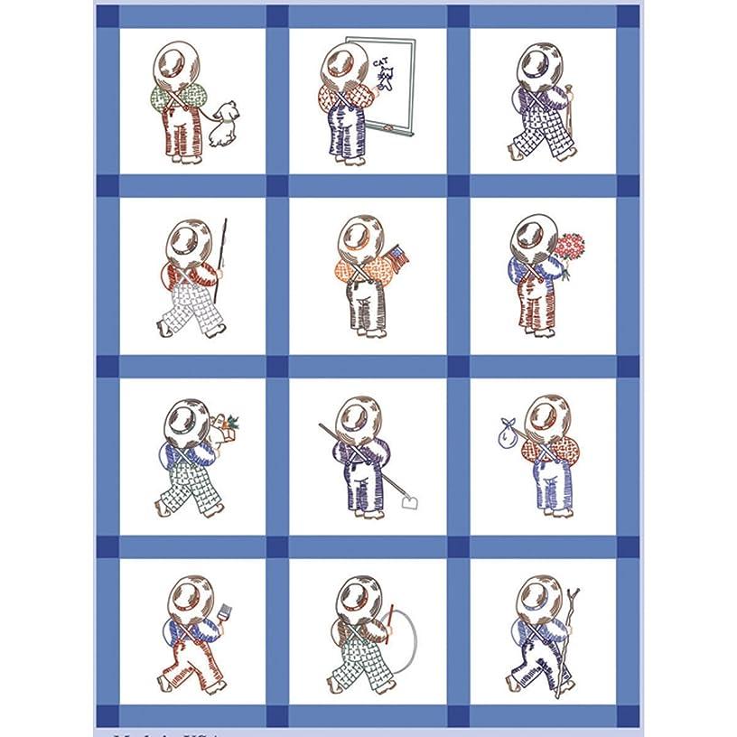 Fairway 92315 Baby Quilt Block Farmer Boy Design, Twelve Blocks, White