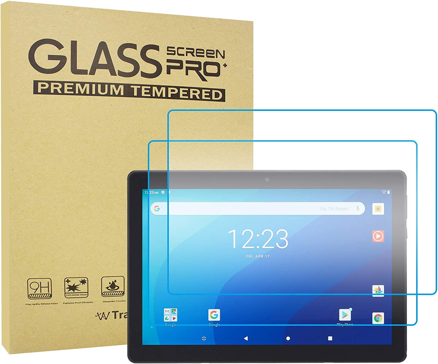 Transwon 2-Pack Tempered Glass Screen Protector for ONN 10.1 Tablet Pro Model 100003562, ONN 10.1 Pro Tablet Screen Protector