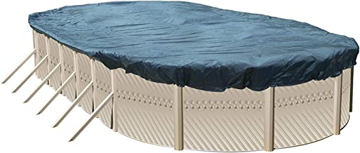 Winter Cover for 15-Foot-by-24-Foot Oval Above Ground Swimming Pools | Total Cover Size 18-Foot-by-27-Foot | Blue/Black Reversible | 3-Foot Additional Material for Secure Installation