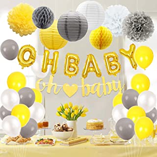 JOYMEMO Baby Shower Decorations Neutral for Boy or Girl, Gender Neutral Unisex Balloons, Garland, Pom Poms, Paper Lanterns Yellow and Gray
