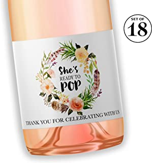 Bohemian Baby Shower Mini Champagne Labels ● SET of 18 ● BOHO She's Ready To POP - Thank You for Celebrating with us Mini Wine Labels, Boho POP When You Get the News Favors, WEATHERPROOF, M407-POP-18