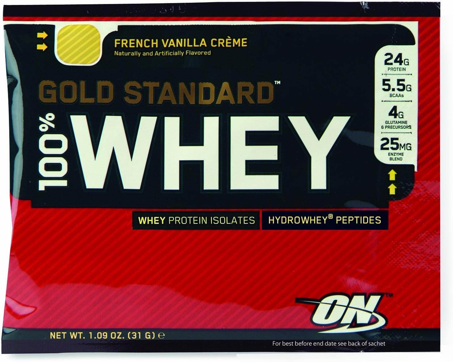 Optimum Nutrition Gold Standard 100% Whey Proteína en Polvo, Sabor Vanilla - 24 unidosis