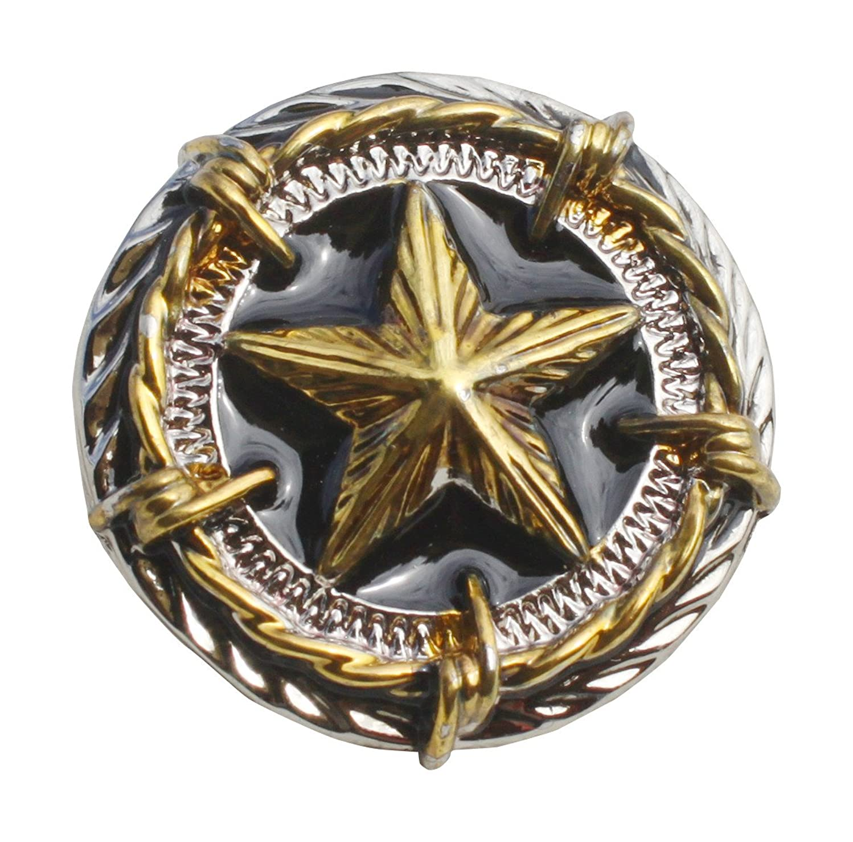 Full Funk Screw On Button Metal Art Bold Circle Star Pattern Leathercraft Projects