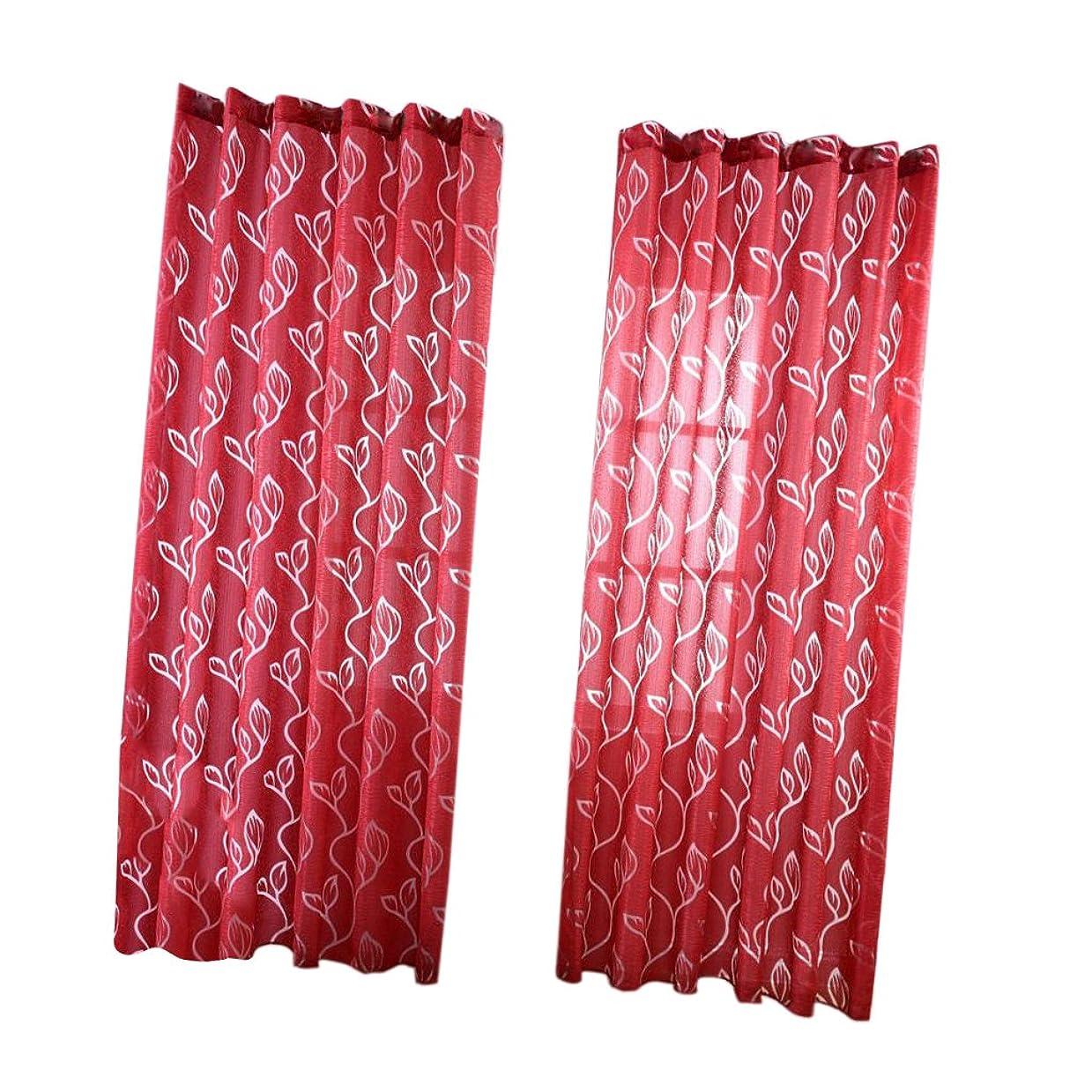 脳囲いレンダリングB Baosity チュール カーテン 明るく 葉柄 装飾 ボイルカーテン 洗濯可能 窓 部屋 薄手 薄い レッド
