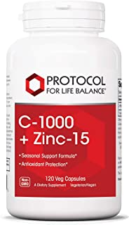Protocol For Life Balance - C-1000 + Zinc-15 - Healthy Immune System Support and Antioxidant Protection - 120 Veg Capsules