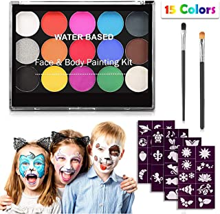 Face Paint Kit for Kids,Professional Non-tocix Face Paint 15 Colors Kit with 2 Brushes, Body Makeup Paint Hypoallergenic W...