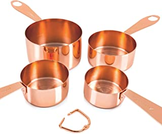 Copper Measuring Cups, Set of 4: EXTRA STURDY Copper-Plated Top-Quality Stainless Steel. Satin and Mirror Polish. Engraved in US and Metric System. Stackable. Copper Finish, Rose Gold. By COPPER GEMZ