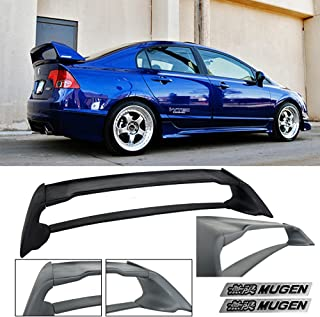 VXMOTOR for 2006-2011 Honda Civic Sedan 4 Door Mugen RR ABS Plastic Rear Trunk Wing Spoiler FD2 FA2 with Black Emblems 2006 2007 2008 2009 2010 2011