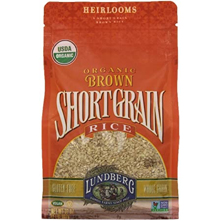 Lundberg Family Farms - Organic Brown Short Grain Rice, Subtle Nutty Aroma, Clings When Cooked, 100% Whole Grain, High Fiber, Pantry Staple, USDA Certified Organic, Gluten-Free, Vegan (32 oz, 2-Pack)