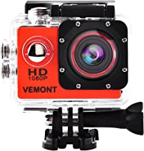 Vemont Action Camera 1080P 12MP Sports Camera Full HD 2.0 Inch Action Cam 30m/98ft Underwater Waterproof Camera with Mounting Accessories Kit (Red)