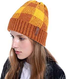 Women's Beanie Hats Acrylic Knit Hat Check Pattern Winter Warm Ski Snow Hat Slouchy Cap