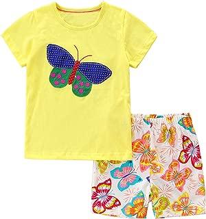 Bumeex Conjunto de Ropa de Verano para niñas pequeñas, Manga Corta, Playera y Pantalones Cortos