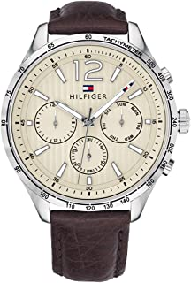 Tommy Hilfiger Men's Stainless Steel Quartz Watch with Leather Calfskin Strap, Brown, 20 (Model: 1791467)