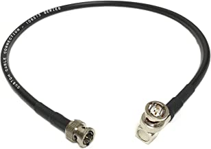 Custom Cable Connection 2 Foot HD-SDI RG6 BNC to BNC Right Angle Video Coaxial Cable Black (108315-02) - Made in The USA