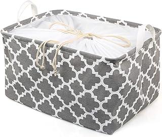 Ballery Boîtes de Rangement en Tissu, Panier de Rangement Pliable avec Poignée et Cordon Organiser Paniers pour Le Linge é...