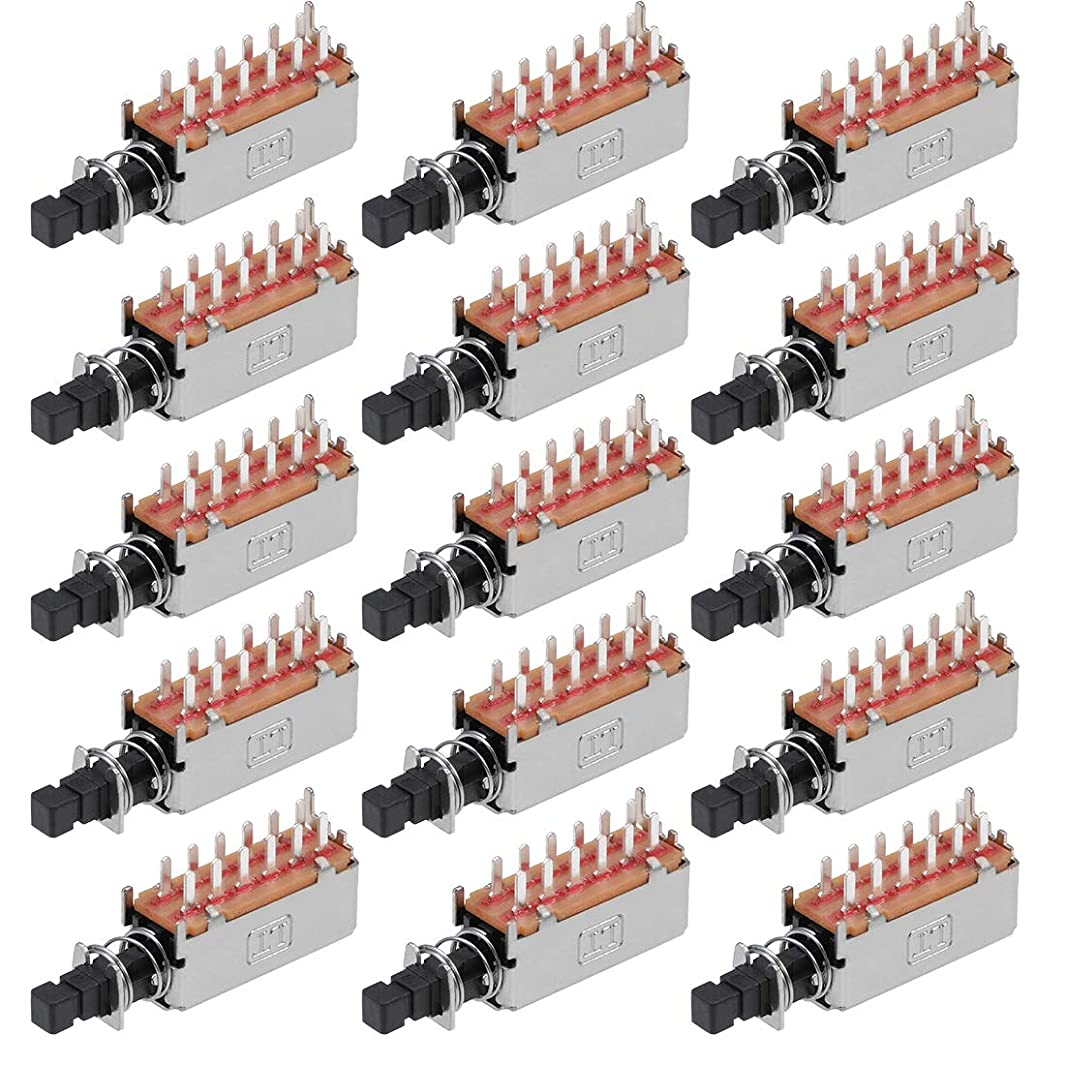 uxcell Push Button Switch 4PDT 12 Pin 1 Position Self-Locking Black 15pcs