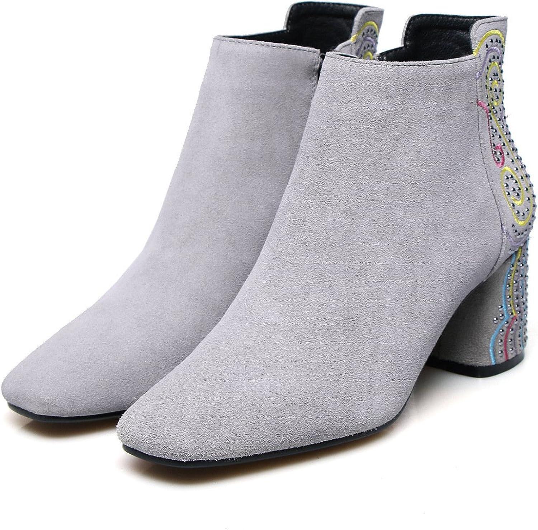 Best 4U Damenschuhe Suede Winter Herbst Stiefel Chunky Heels Karree Stiefeletten Ankle Strass Stickerei Schwarz
