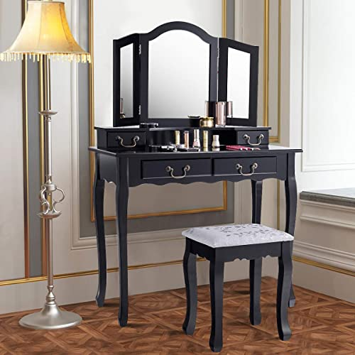 wholesale Giantex Vanity Table Set with Stool, Tri-Folding Makeup Dressing Mirror Bedroom discount Chic Organizer Cushioned Chair Wooden Leg for Women Girl Fold Desk Vanities Dressing Tables w/ 4 2021 Storage Drawers (Black) sale