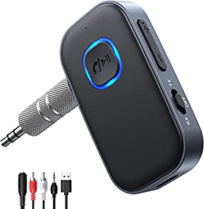 AINOPE Transmitter and Receiver Bluetooth 5.0 Adapter, 2-in-1 Wireless 3.5mm Adapter Low Latency, 2 Devices Simultaneously, Compatible with TV/Home Sound System/Car/Nintendo Switch