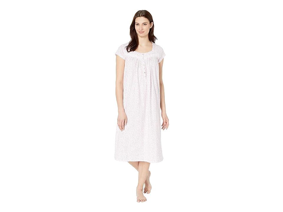 Eileen West Cotton Jersey Ballet Nightgown (White Rose Leaf Print) Women