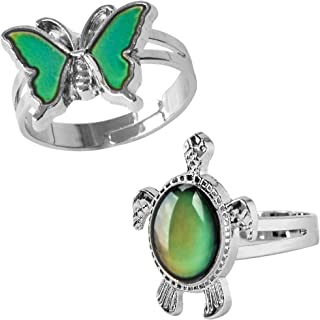 2 Pcs Turtle Horse and Butterfly Bear Paw Color Change Mood Ring Gift for Boys Girls Size Adjustable Ring