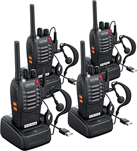 ESYNIC Rechargeable Walkie Talkies Long Range 4 Pack Two Way Radio Walky Talky with Earpieces Flashlight 16 Channel F...
