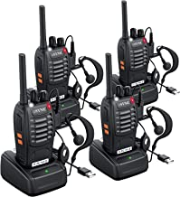 Best eSynic 4 pcs Rechargeable Walkie Talkies with Earpieces Long Range Two-Way Radio 16 Channel with Flashlight walky Talky Handheld Transceiver USB Charging Included Review