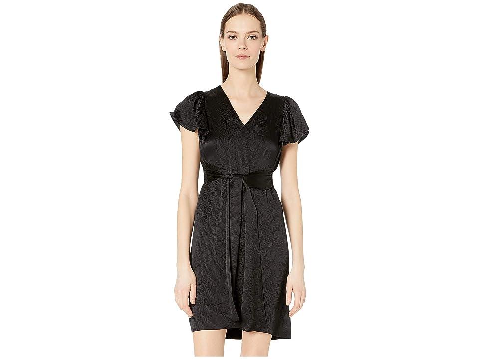 Rebecca Taylor Sleeveless Silk V-Neck Dress (Black) Women