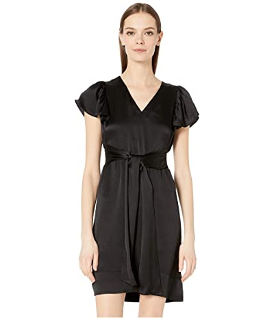 Rebecca Taylor Sleeveless Silk V-Neck Dress (Black) Women