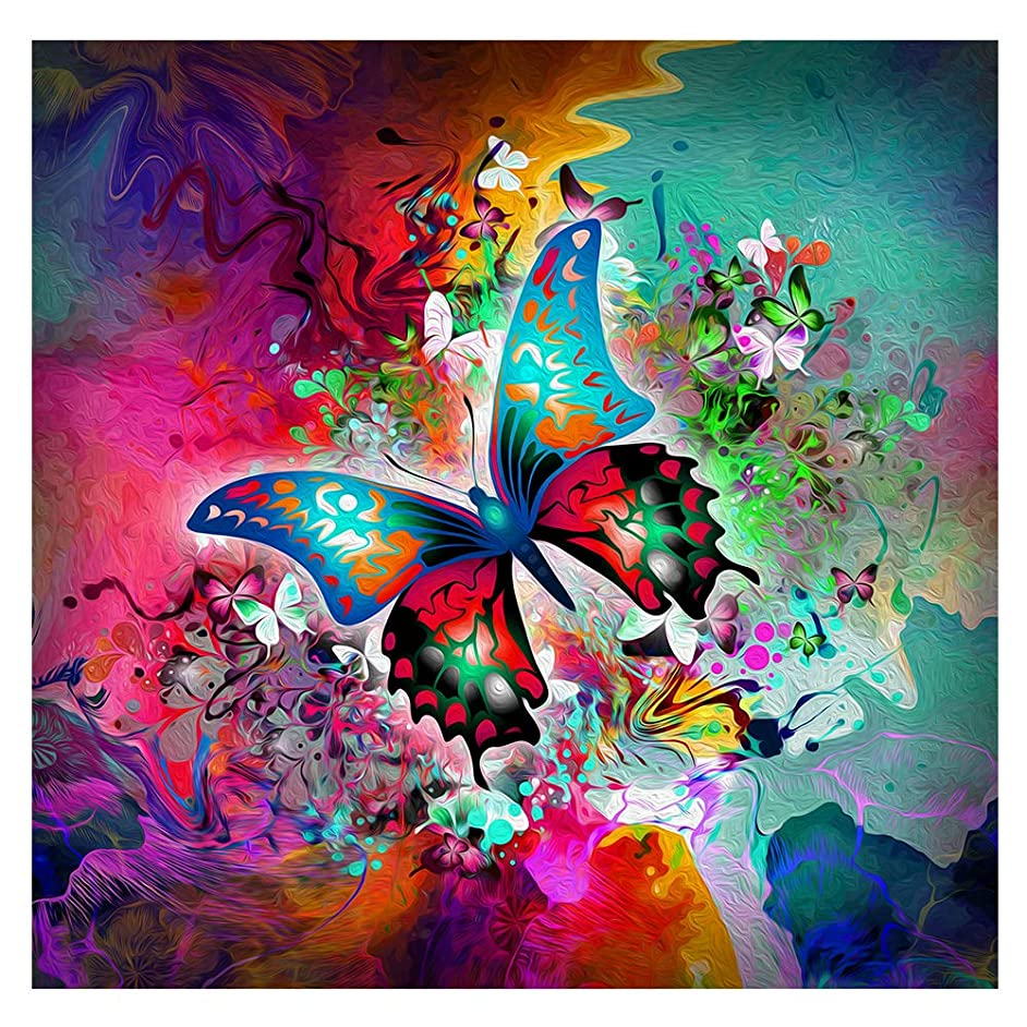 Twuky DIY 5D Diamond Painting Kit, Full Diamond Embroidery Rhinestone Cross Stitch Arts Craft Supply for Home Wall Decor - Butterfly(35X35CM/14X14inch)