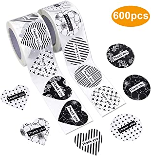 JPSOR 600pcs Thank You Stickers, 14 Unique Designs, 1.5 Inches Heart and Round Labels for Baby Shower, Wedding, Birthday, Party
