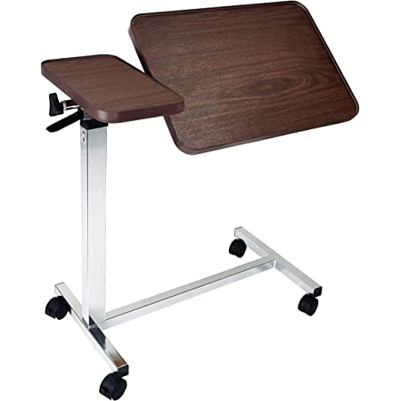 Medical Deluxe Tilt Top Overbed Bedside Table with Height Adjustment Feature (Hospital & Home Use)