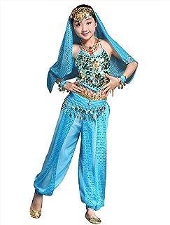 BellyQueen Mädchen Bauchtanz Rock Tanzrock Kinder Ägypten Indische Tanz Outfits 7 Stücke Blau