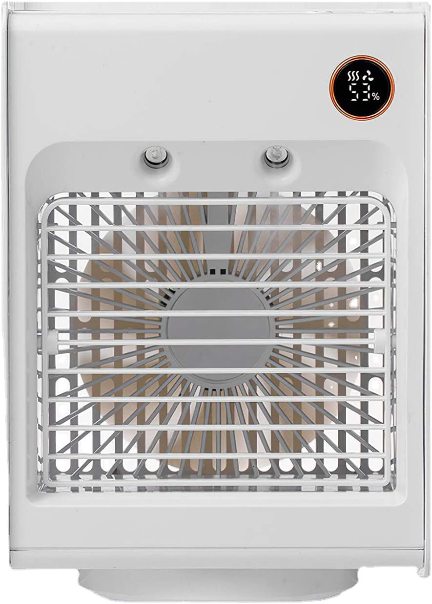 Ventilador portátil para aire acondicionado Jabroyee, 3 velocidades, recargable por USB, para casa o oficina, color blanco