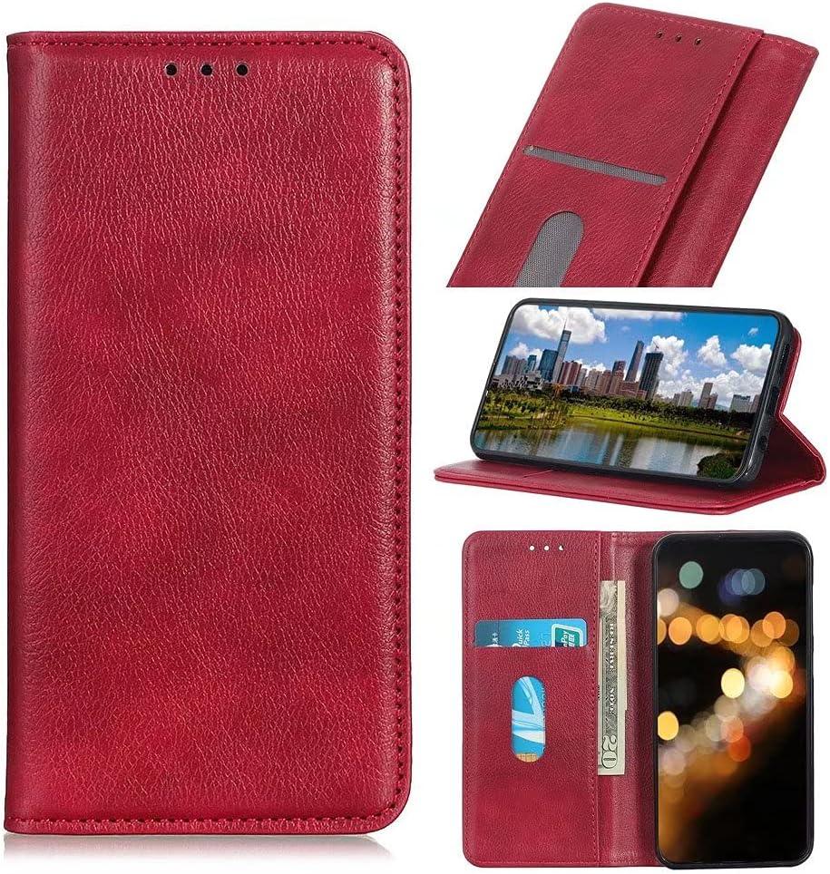 جراب هاتف RanTuo لهاتف Samsung Galaxy F42 5G ، مع فتحات للبطاقات ، وحامل ، وجلد TPU + PU ، وغطاء قلاب لهاتف Samsung Galaxy F42 5G. (أحمر)
