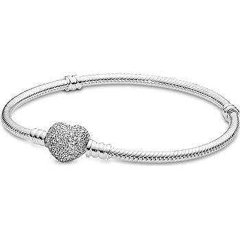 The Kiss Glittering Pave Heart CZ 925 Sterling Silver Bracelet