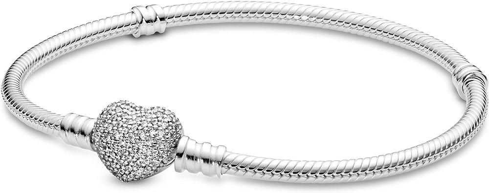 Pandora – bracciale da donna in argento sterling 925 con zirconi,chiusura a ribalta a forma di cuore 590727CZ-19