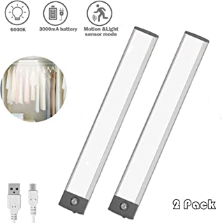 LED Closet Light, Motion Sensor Activated Rechargeable Night Light Slim 3000MA Bright Under Cabinet Light for Wardrobe and Kitchen 2 Pack
