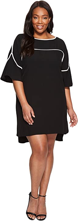 Calvin Klein Plus - Plus Size Flutter Sleeve Dress with Piping