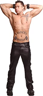 Strict Leather Police Leather Pants with Blue Stripe, 32 Inch Waist