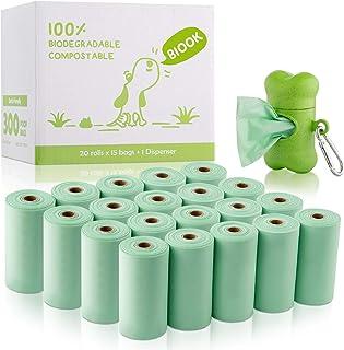 comprar comparacion BIOOK Bolsas Caca Perro 100% Biodegradable con 1 Dispensador, Materiales Basados en PLA y Compostables Premium Ecológico, ...