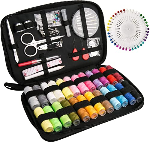Sewing Kit Luxebell 92 Sewing Accessories Portable Travel Household Needlework Box for Girls&Adults, Sewing Set for H...