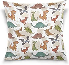 """MASSIKOA Dinosaur Decorative Throw Pillow Case Square Cushion Cover 18"""" x 18"""" for Couch, Bed, Sofa or Patio - Only Case, D..."""