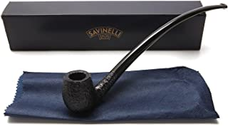 Savinelli Italian Tobacco Smoking Pipes, Churchwarden Rusticated Black 601