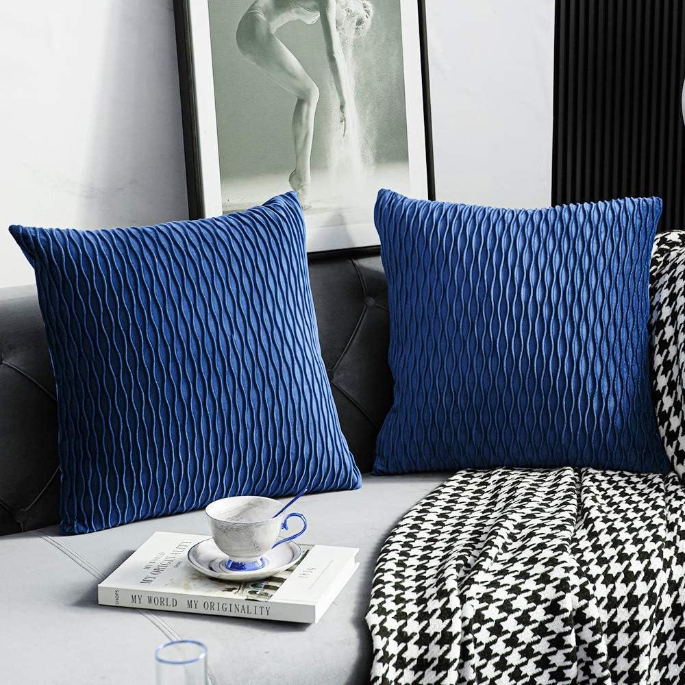 DEZENE 18x18 Blue Throw Pillow Covers: Pack Original 2 Columbus Mall Finally popular brand Striped V